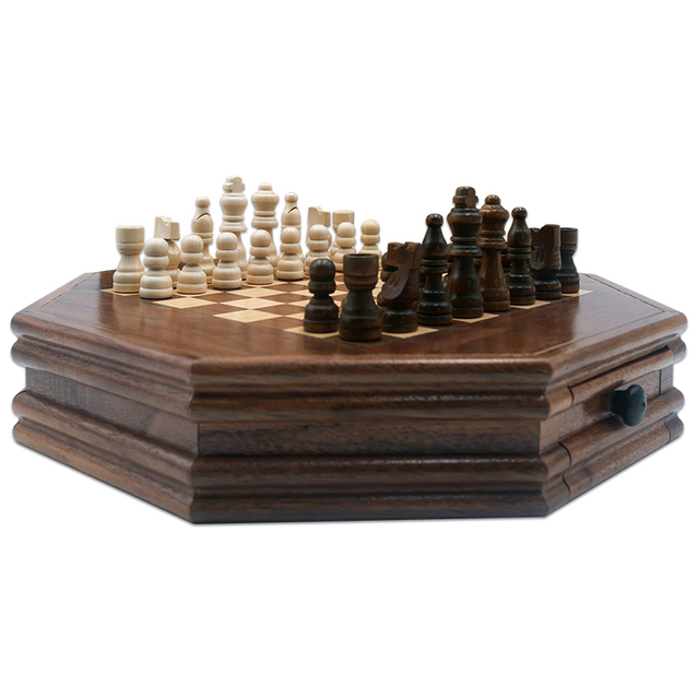 Buy Best Boutique Chess Set Handwork Solid Wood Coffee Table Walnut Drawer Style Storage Pieces Professional Chess Child Gift Board Games-