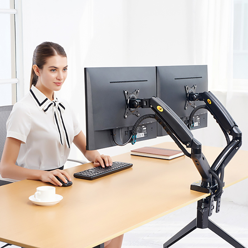 2019 New NB F160 Dual Monitor Holder Full Motion Dual Arm Monitor Support 17-27 Inch Monitor Mount Bracket Load 2-9 Kgs Each