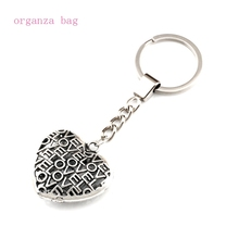 цена на 15pcs/lots Keychain 3D Love hollow Heart Alloy Charms Pendants Key Ring Travel Protection DIY Jewelry A-554f