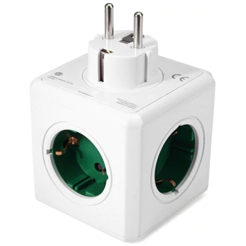 1 peça 5 Outlets Tomada PowerCube Original DE Plug Adapter-16A 250 V-Verde