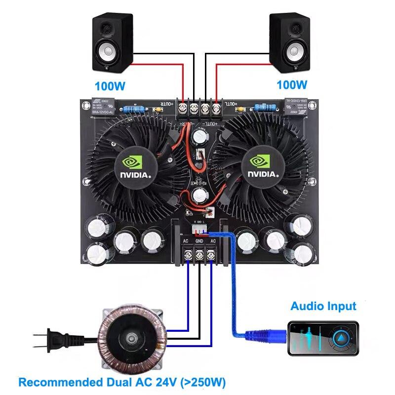 2*100W TDA7293 Dual Channel Stereo Digital Power Audio Amplifier Board 12V-27V Class D HIFI DIY AMP