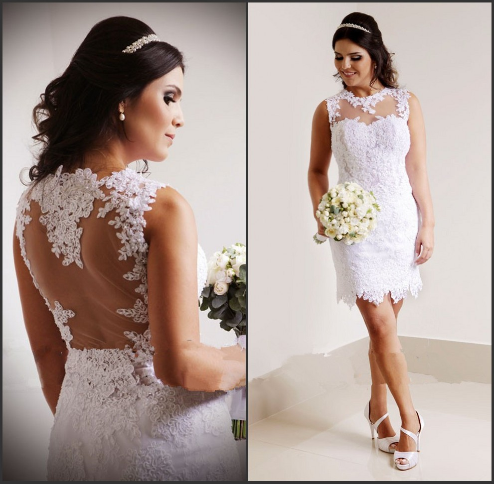 2019 Vestido De Noiva Curto New Fashion Sheer Back Short Mini White Lace Appliques Wedding Dresses Vestido De Renda Casamento