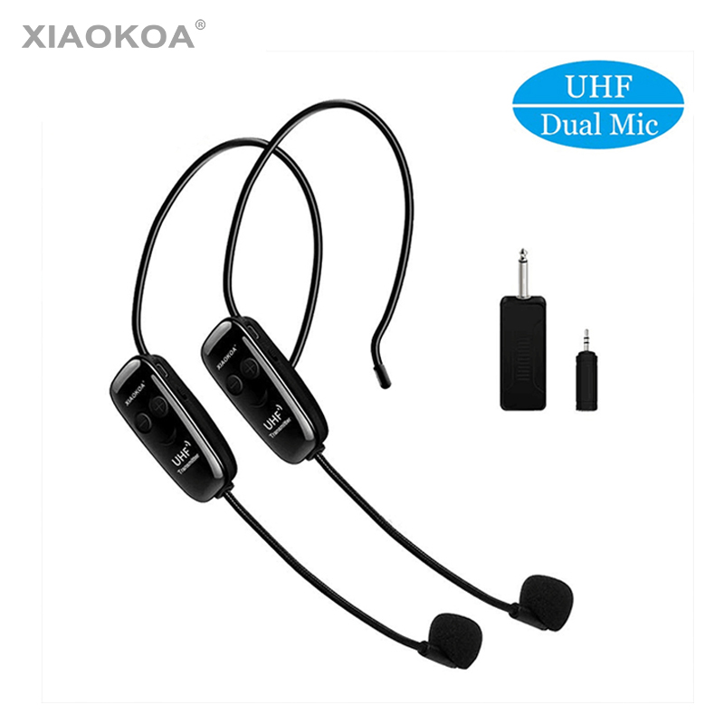 XIAOKOA Dual UHF Headset Wireless Microphone 1 Receiver 2 Headset And Handheld 2 In 1 Rechargeable For Teaching Voice Amplifier