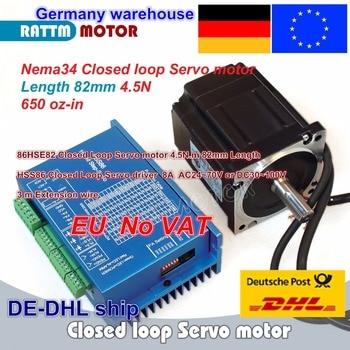 EU free 1 Set Nema34 4.5N.m circuito cerrado servomotor Kits 82mm 6A y HSS86 híbrido Step-servocontrolador 8A juego de controladores CNC