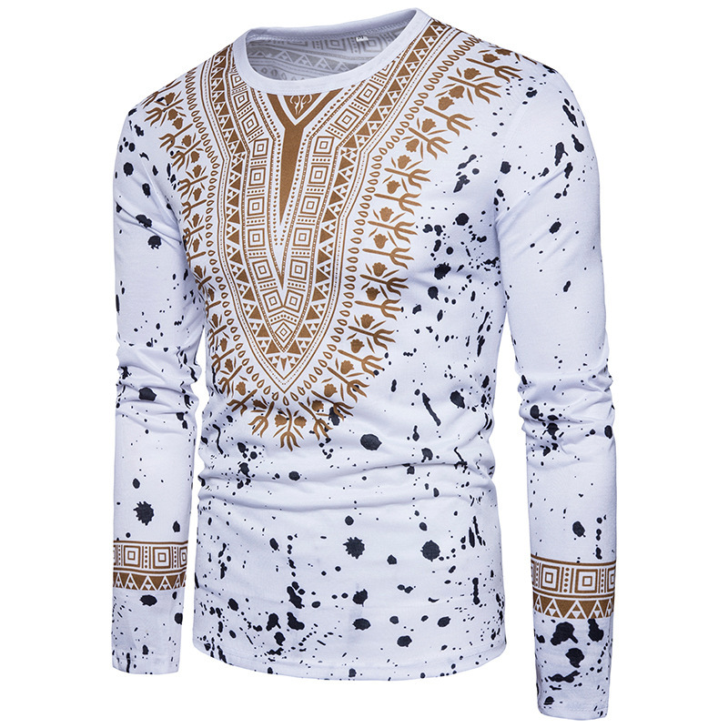 Mens New Fashion long sleeve Creative Ethnic Wind-shattered 3D Printed T-shirt JQ-10018