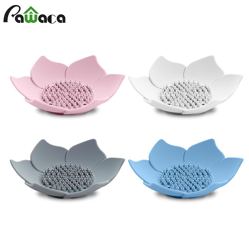 Lotus Shape Breathable Draining Soap Dish Soap Box Plate Silicone Storage Holder Container Soap Dishes Bathroom Accessories