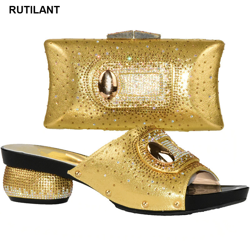 Latest Shoes And Bag Set Gold Color Italian Ladies Shoe And Bag Set Decorated With Rhinestone African Shoe And Bag Set For Party