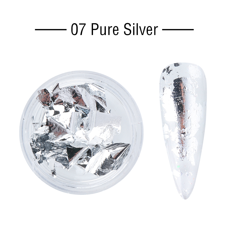 1 Box Gold Glitter Flakes Irregular Aluminum Foil Sequins For Nails Chrome Powder Winter Manicure Nail Art Decorations LY1858-1 23