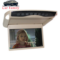 Car Family 10.1 Inch Car Monitor Ultra Thin Ceiling Roof Mount LCD TFT Flip Down MP5 Player HD 1080P Video/USB/SD/FM /Speaker