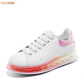 2020 Luxury Women Leather Casual Sneakers Female White Rainbow Girls Spring Shoes Lace Up 35-40 Girls White Shoes tanie i dobre opinie YELUOHK Podstawowe RUBBER Lace-up Pasuje prawda na wymiar weź swój normalny rozmiar Na co dzień Płytkie Wiosna jesień