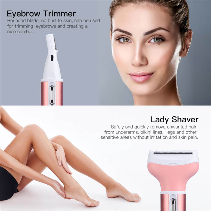 4in1 Multifunction Women Electric Shaver Wool Device Lady Rechargeable Razor Female Epilator Eyebrow Nose Trimmer Hair Trimer 36