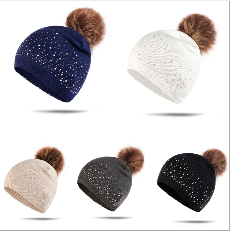 American Amazon New Women's 6-color Hot Sale Set Point Drill Wool Ball Autumn And Winter Knitted Hat Warm Wool Hat Available