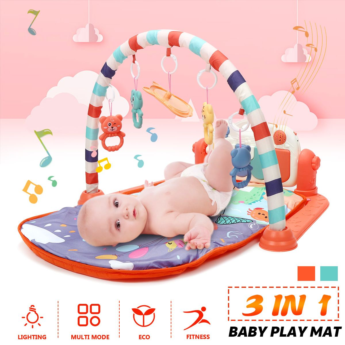 LBLA 3 In1 Baby Infant Gym Play Mat Fitness Multi-functional Music Piano Hanging Toy Funny Educational Puzzle Carpet Kids Rug