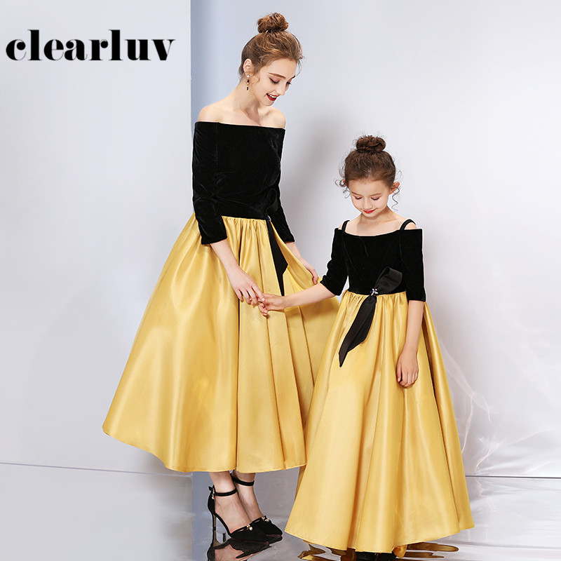 Formal Evening Dress DB166 For Mom And Daughter Off The Shoulder Party Dresses Patchwork A-Line Elegant Gown Parent-child Wear
