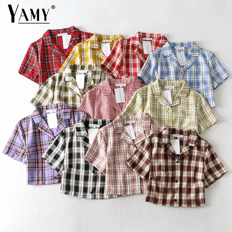 Summer Blouse Women Vintage Crop Shirt Streetwear Plaid Ladies Tops Elegant Button Up Shirt Korean Crop Top Red 2020