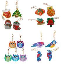 5pcs DIY Full Drill Special Diamond Painting Keychain  Animal Keyrings Women Bag Pendant Key Ring Christmas Gift
