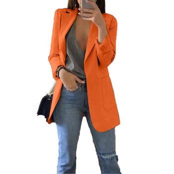 2020 Women Latest Blazers Orange Turn-down Collar Elegant Women Fashion Clothing Jacket Office lady Blazer Big Size S-5XL