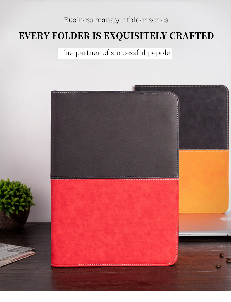 A4 Document Folder Padfolio PU Leather With Calculator Zipped  Business Office School Supply File Folder Manager