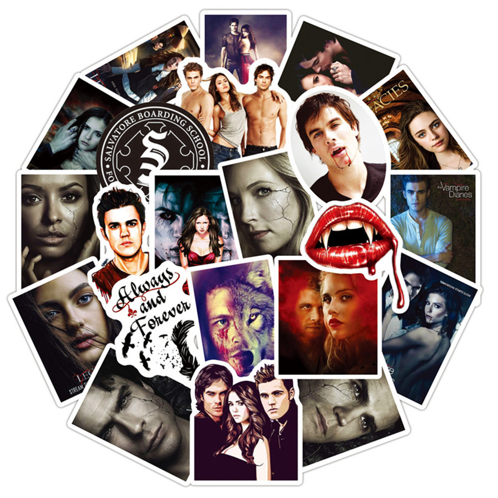 10/30/50Pcs American Fantasy TV Series The Vampire Diaries Stickers For Luggage Laptop Skateboard Scrapbook Mobile Phone Decal image