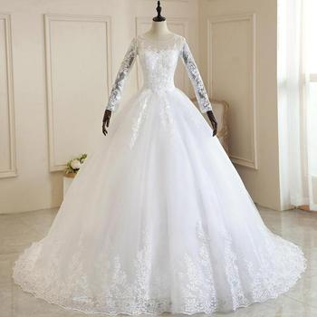 Vestido De Noiva 2021 Pure White Full Sleeve Wedding Dress With Train Princess Luxury Robe Mariee Plus Size - discount item  32% OFF Wedding Dresses
