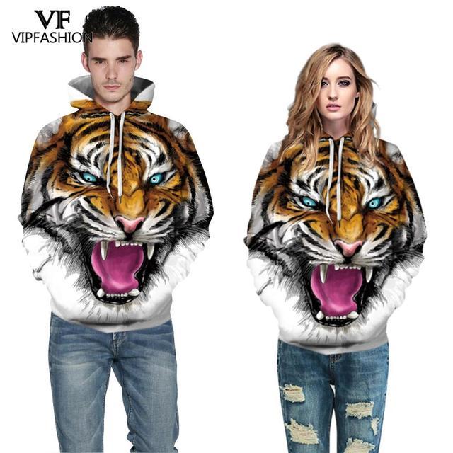 VIP FASNHION 2019 Winter Women Men Sweatshirt Streetwear Fashion Digital Tiger Printed Hooded 3D Hoodie Couple Cloth