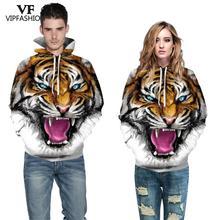 VIP FASNHION 2019 di Inverno Delle Donne Degli Uomini Felpa Streetwear di Digital di Modo di Tigre Stampato Con Cappuccio 3D Con Cappuccio Coppia di Stoffa