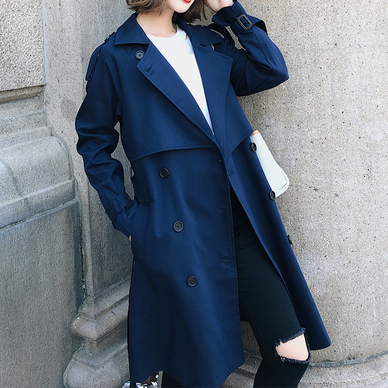 Windbreaker Female 2019 Spring Autumn New Korean Leisure Chic Loose Ladies Harbor Wind Long   Trench   Coat For Women Blue Tops