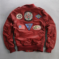 fly flight plant tranned goatskin badge pilot bomber red genuine leather jacket coat men XXXL