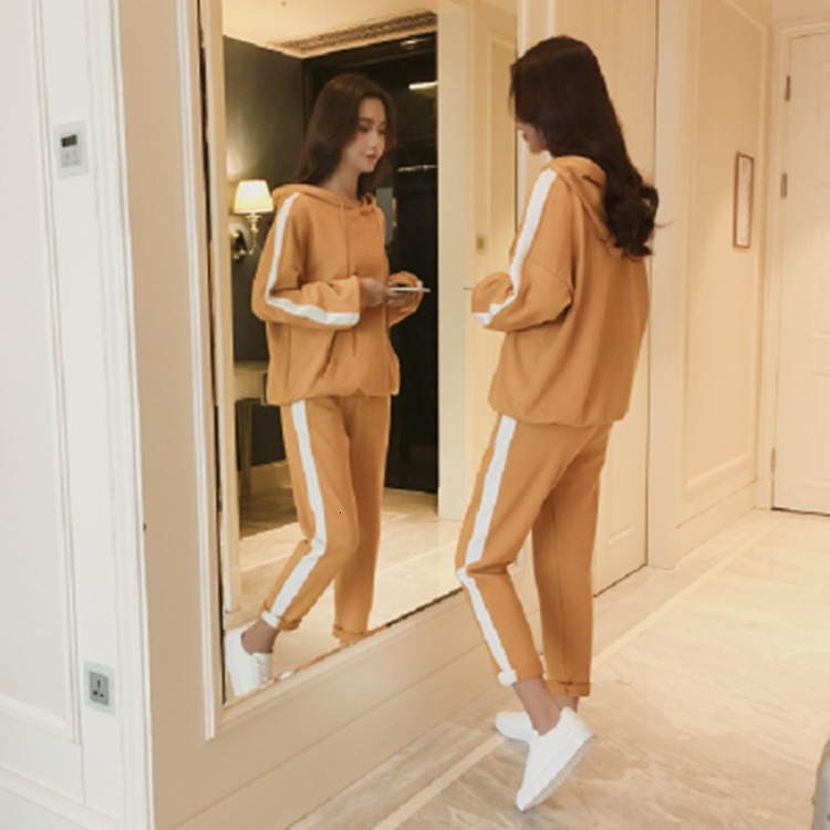 Women Casual Suit Flavor Leisure Time Motion Suit Hooded Tops Sweatshirt And Solid Long Pants Women Sports Suit Plus Size
