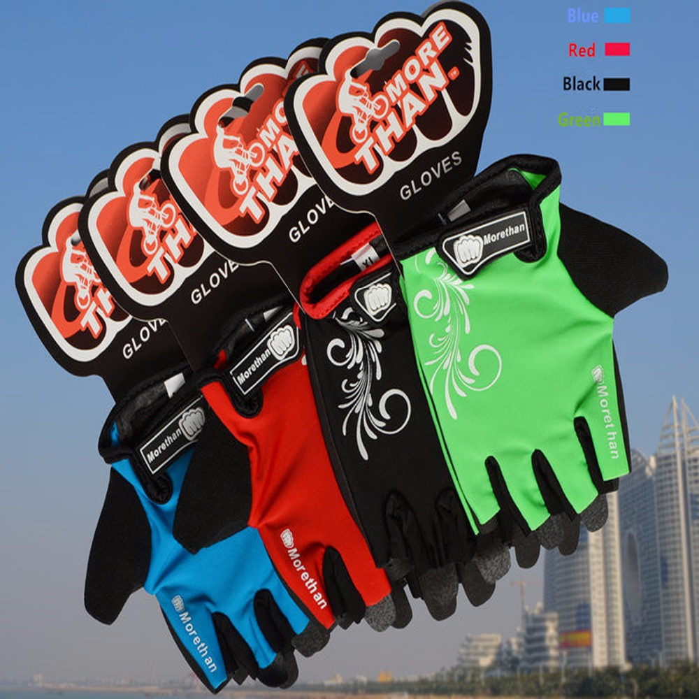 Купить с кэшбэком Promotion Bike Gloves Half Finger Team Guantes Ciclismo  Breathable Gloves for  Man Woman Kids Summer  Bicycle Glove 5 Colors