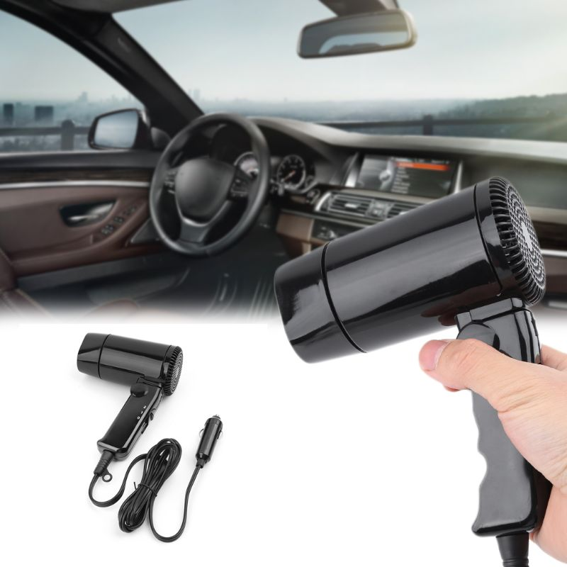 Caravan Portable 12V Hot&Cold Folding Car Hair Dryer Window Defroster For RV Camper Camping Travel