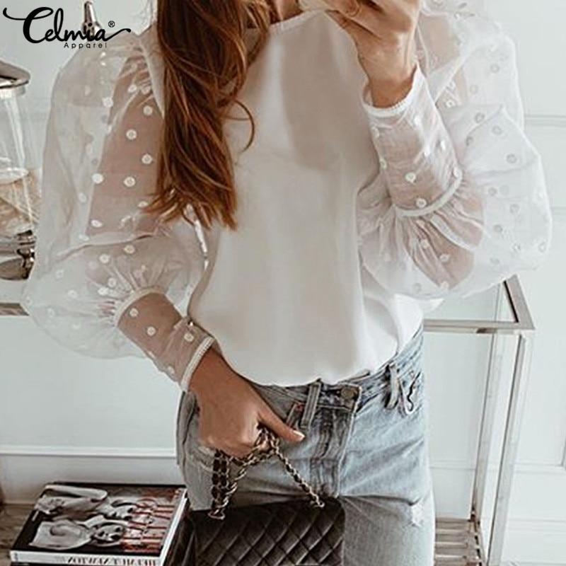 S-5XL Women Casual Puff Sleeve Loose O-Neck Blouse Celmia Vintage Polka Dot Printed Tops Elegant See Through Lace Shirts Blusas