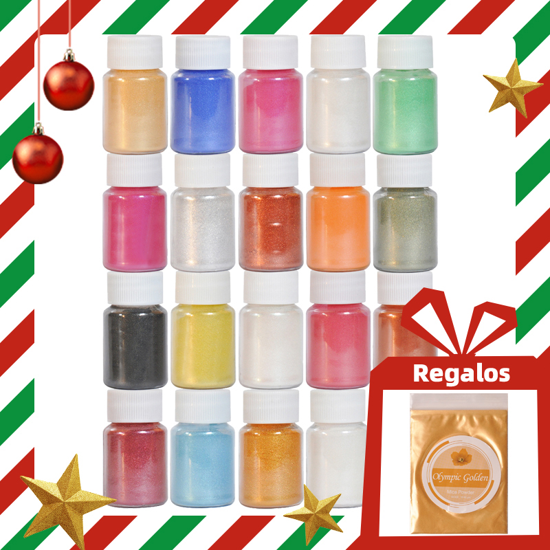 Mica Powder Pigment Supply Kit Powder Resin In Bottle Organized With Pearlescent Pearl Luster Soap Making/Bath Bomb DIY