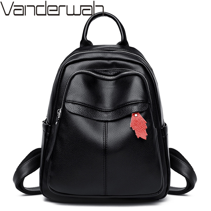 Women Vintage Leather Backpacks Ladies Sac A Dos Backpacks Female Casual Travel Shoulder School Bags For Girls Daypack Mochilas