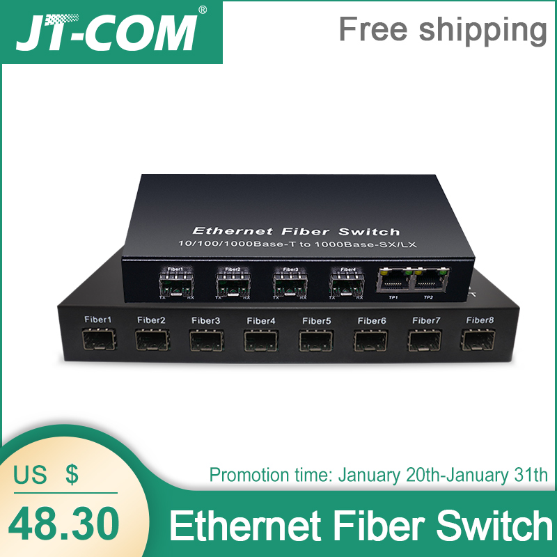 Gigabit SFP Fiber Switch  1000Mbps Optical Media Converter 4 * SFP Fiber Port And 2  RJ45 UTP Port 4/8G2E Fiber Ethernet Switch