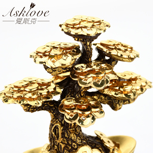 Image 5 - Feng Shui Fortune tree Gold Foil Money Tree Bonsai Office Tabletop Lucky Wealth Ornaments Gifts Home Decoration with Gifts box