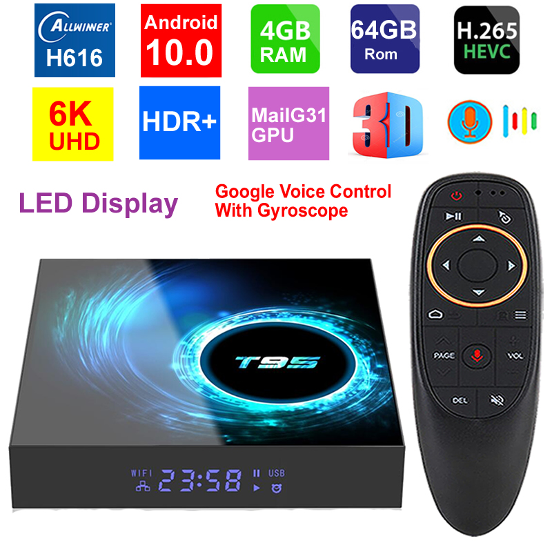T95 6K Smart TV Box Android 10.0 Allwinner H616 Quad Core 4GB RAM 64GB ROM WIFI HDR H.265 6K Media Player IPTV Set Top Box
