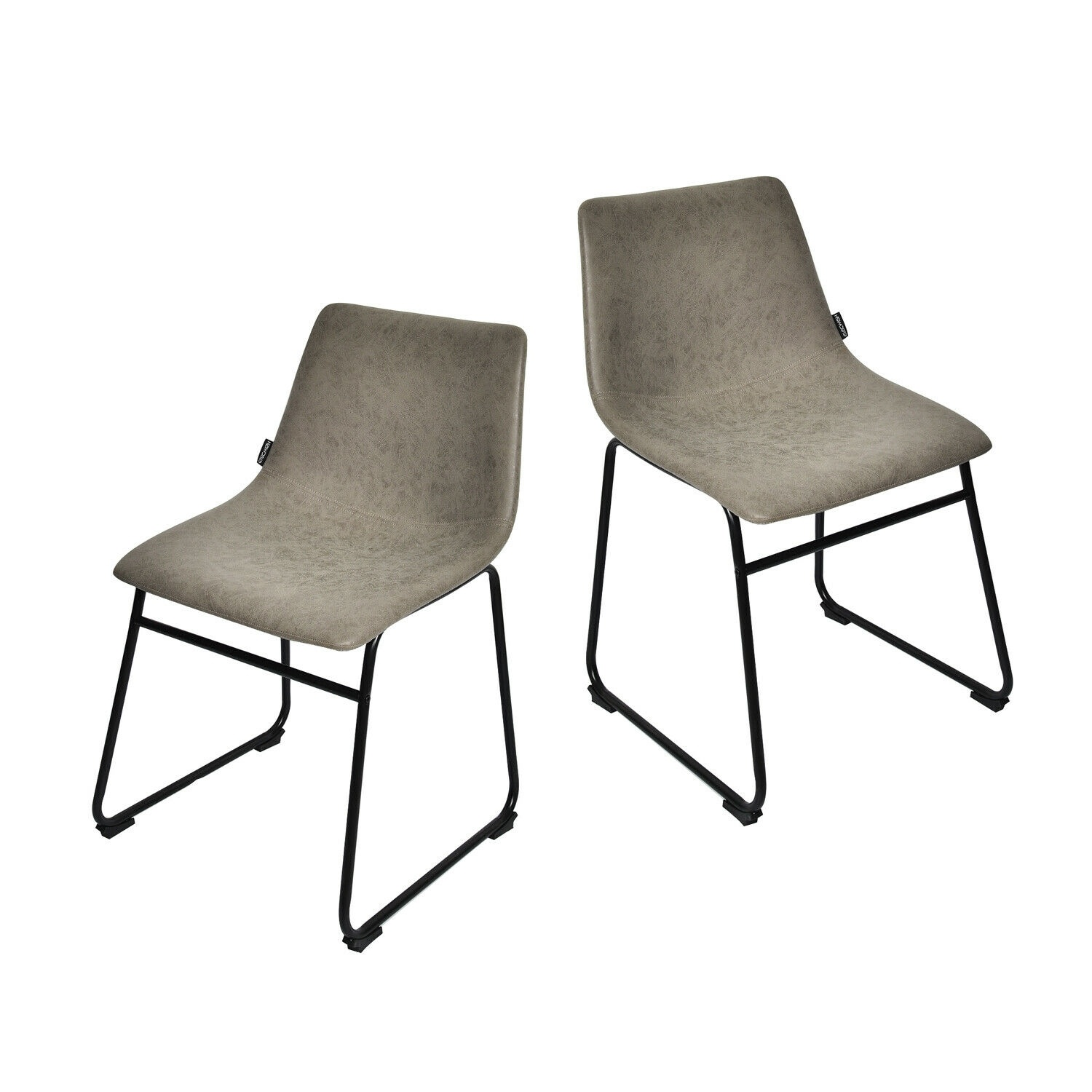 Set Of 2 Vintage Bar Stools Dining Pub Chair Armless PU Leather Kitchen Bistro