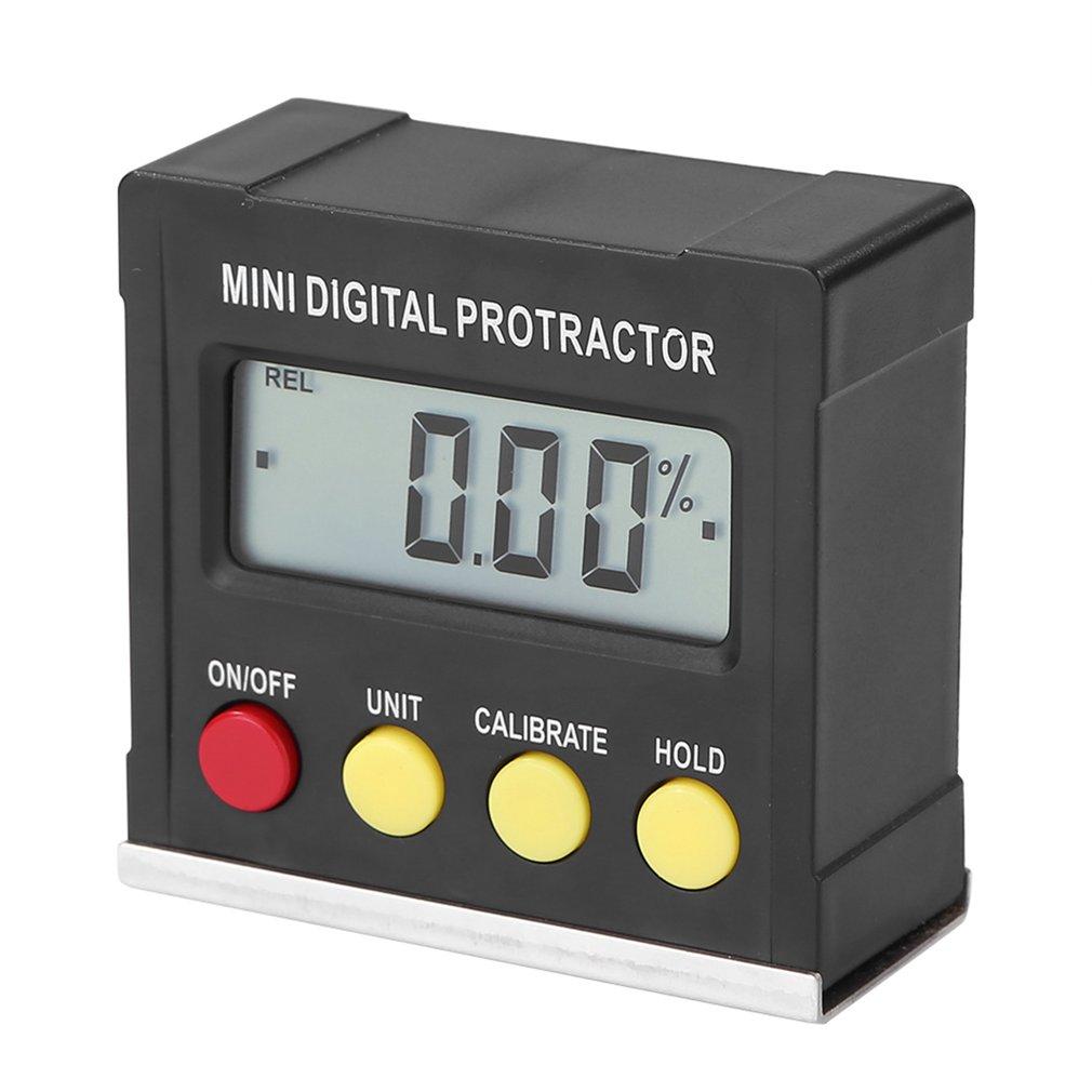 360 Degree Black Mini Digital Protractor Inclinometer Electronic Level Box Magnetic Base Measuring Tools