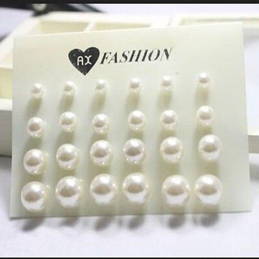 12 Pairs/set Stud Earrings Set With Card Transparent Zircon Balls Love Flowers Earrings Women Imulated Pearl Earrings Jewelry 37