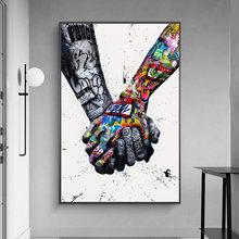 Liebhaber Halten Hände Graffiti Kunst Leinwand Poster Und Drucke Abstrakte Street Art Gemälde Auf die Wand Kunst Bilder Wohnkultur