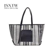 ISXTW  Style Pocket Stripe Shopping Bag Eco-friendly Folding Reusable Portable Shoulder Handbag Polyester Travel Grocery Bag/B25