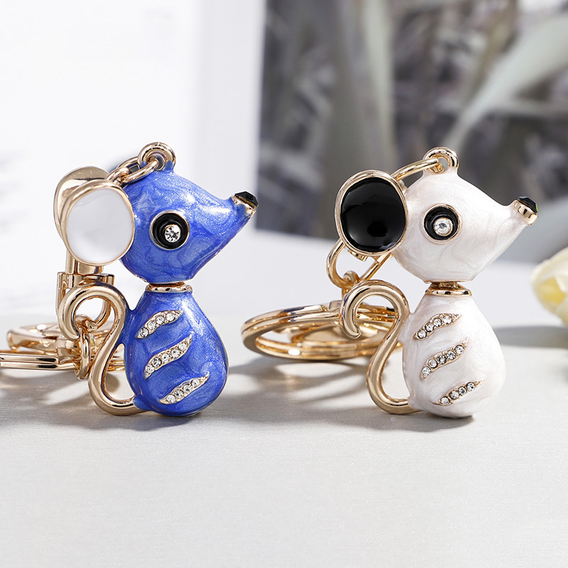 2019 Rhinestone Key Chain Hot Sale Mouse Keychain For Lovers Alloy Fashion Trinket Ring For Car Key Chain The New Year Gift