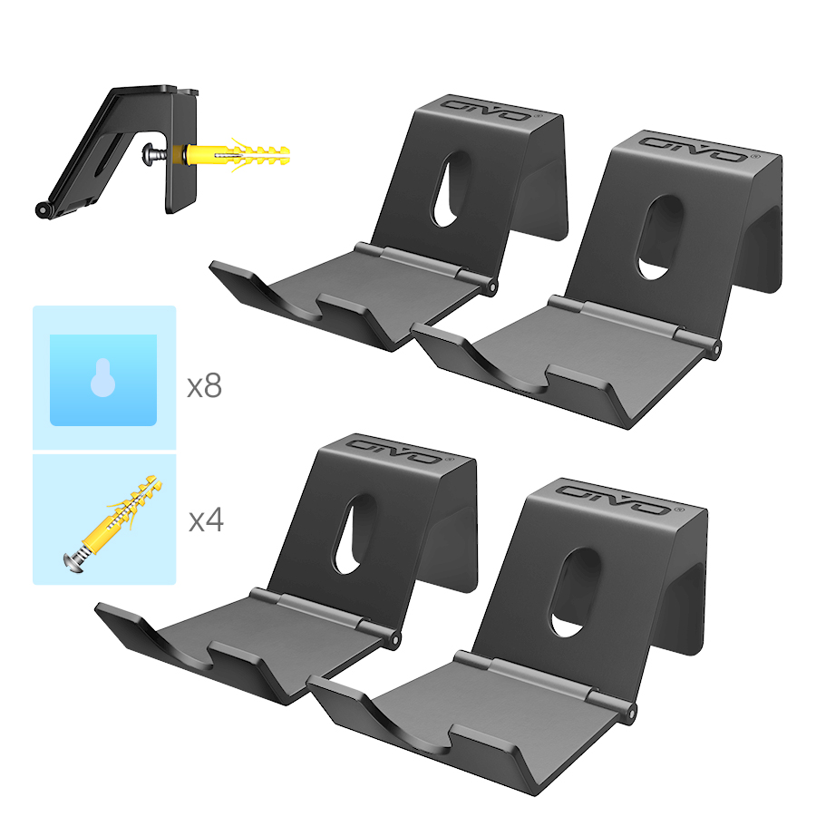 OIVO 4 PCS Game Controller Stand Holder for PS4 Controller Wall Mount Headphone Holder Universal Foldable Design Gamepad Holder