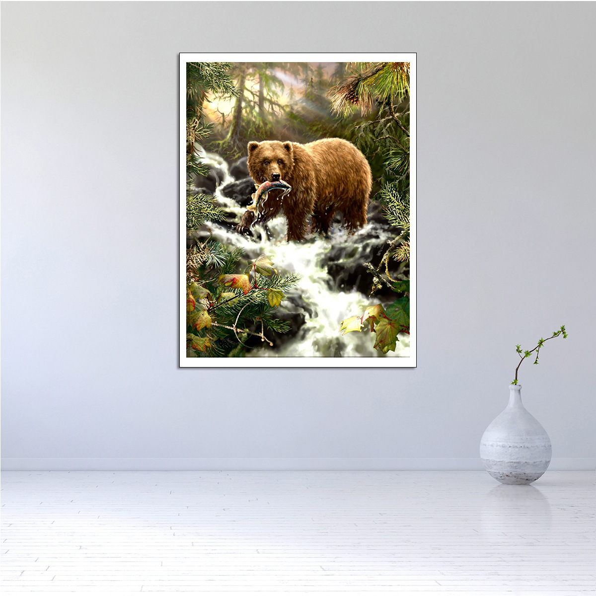 Amazon, Wall Art A Bear Catch Fish Home Decoration Modern Oil Painting