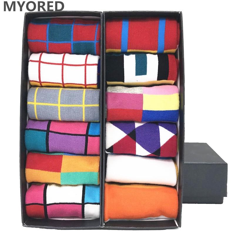 MYORED 12pairs/Lot Colorful Men's Casual Dress Socks Cotton Crew Striped Lattice Plaid Pattern Party Gift Classic Socks NO BOX