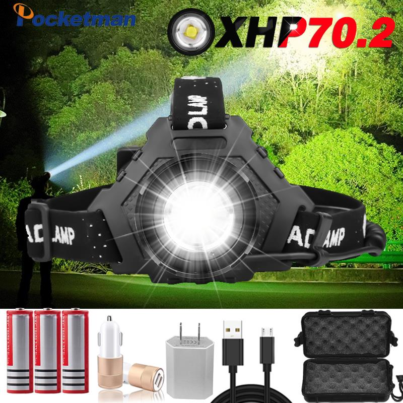 LED XHP70.2 USB Rechargeable Led Headlights XHP70 Super Bright Headlights XHP50 Outdoor Hunting Bicycle Fishing Lanterns