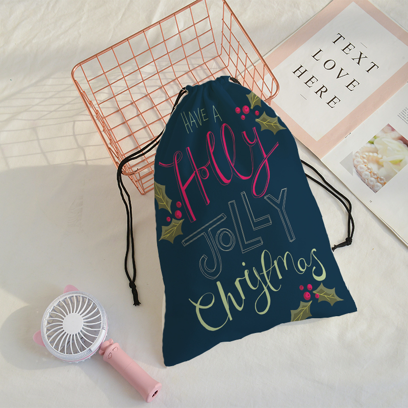 Merry Christmas Printing Gifts Pocket Traveling Shoulder Bag Mochila Men GYM Sack Drawstring Bag Support Customize Gift Bages
