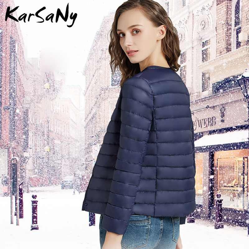 KarSaNy Winter Basic żakiet damski ultralekka kurtka damska 2019 Lady krótki Ultra cienka kurtka z puchu kaczego kobieta Plus Size płaszcze