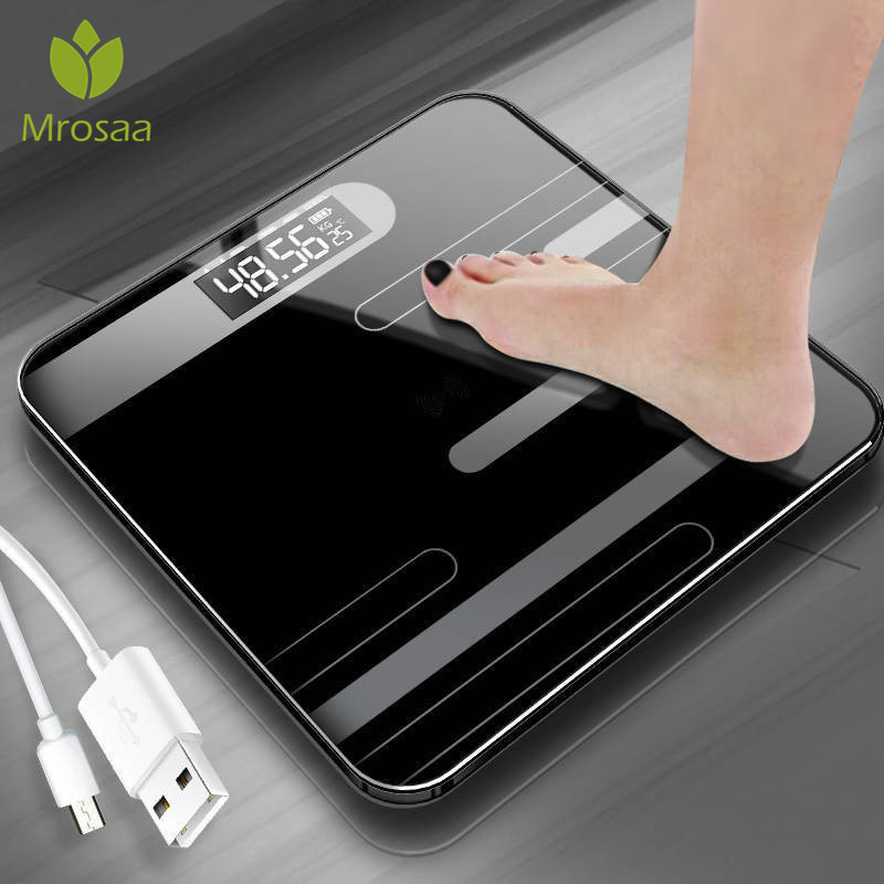 Mrosaa Body-Floor-Scales Lcd-Display Glass Body-Weighing Digital Usb-Charging Bathroom title=